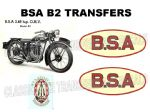 BSA B2 Transfers and Decals Sets